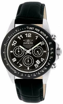 Invicta 10707 Black Speedway Chronograph Tachymeter Leather Strap Mens Watch