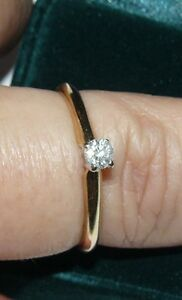 Ladies 14 kt Diamond Solitaire Engagement Ring. Size 10.