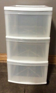 White 3 Drawer Storage Cart With Wheels - St. Thomas