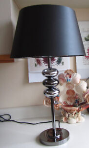Chrome Finish Table Lamp, Black Satin Shade