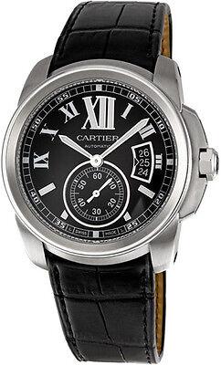 W7100041   Brand New Cartier Calibre de Cartier Steel Men's Watch w/ Black Strap