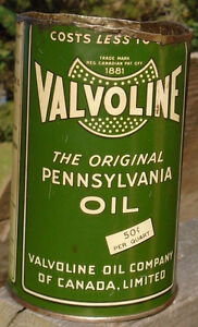 RARE 1930's VINTAGE VALVOLINE MOTOR OIL IMPERIAL QUART CAN