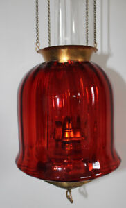 Cranberry Glass Oil Lamp - Hanging Hall Lantern Antique