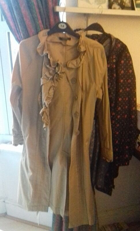 2 x COATS: Women's Raincoat & Trench Coat - Size 16 & 14 - Beige & Black with pink hearts