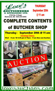COMPLETE CONTENTS OF BUTCHER SHOP - ON THE AUCTION BLOCK