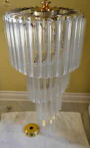 Set of 3 Luminaire Foyer and Hallway Chandeliers Gold Glass Look