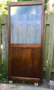 3 Vintage Mahodany sliding doors with frosted glass 36w x 86.5 h
