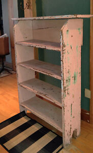 Antique Pine Bookcase Standing Shelf Shabby Chic Painted