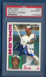 Al Oliver SIGNED CARD PSA/DNA AUTOGRAPH - Montreal Expos