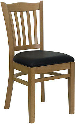 10 Natural Wood Frame Vertical Slat Back Restaurant Chairs With Black Vinyl Seat