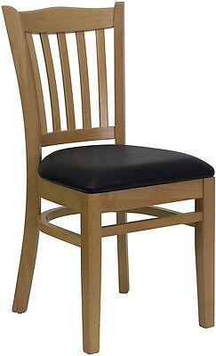 10 Natural Wood Frame Vertical Slat Back Restaurant Chairs With Black Vinyl Seat