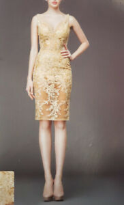 Yellow Over the knee lace dress with embroidery for RENT