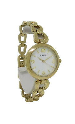 Bulova 97L138 Women's Round Analog Mother of Pearl Gold Tone Watch