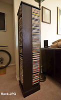CD Rack with hundreds of music CDs
