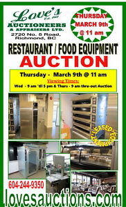RESTAURANT FOOD EQUIPMENT AUCTION - THURS. MARCH 9th @ 11 am