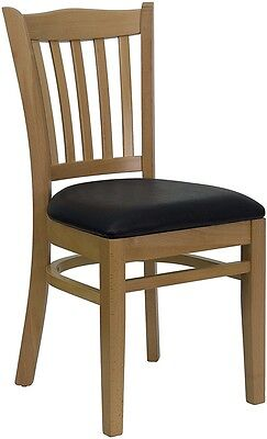 Natural Wood Finished Vertical Slat Back Restaurant Chair With Black Vinyl Seat