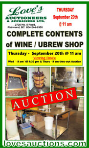 CONTENTS OF WINE / UBREW SHOP ON THE AUCTION BLOCK