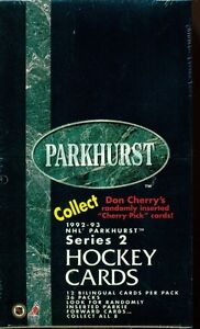 1992-93 PARKHURST ... SERIES 2 box ... HEBERT, ZUBOV, JONES RCs?