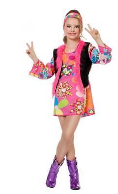 70er 80er Jahre Kleid Kostüm Flowerpower Kinder Hippie Hippy Hippiekostüm Party ()