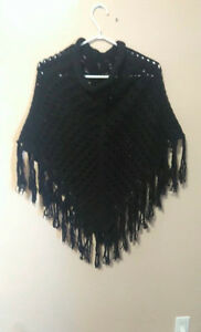 Large Black Knitted Poncho