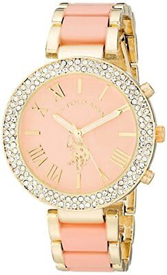 Diamond Accent Baby Shoe - Accutime Watch Corp. U.S. Polo Assn. Womens Gold-Tone and Pink Bracelet