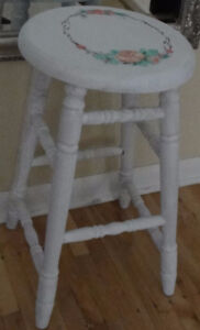 Farmhouse Style Vintage Shabby Chic Wooden Stool