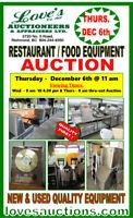 RESTAURANT FOOD EQUIPMENT AUCTION - THURSDAY, DEC. 6th @ 11 am