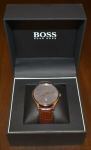 Hugo Boss Mens Watch Governor Leather Strap Steel Case NEW!