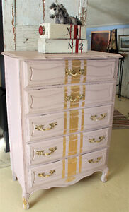 DRESSER, FRENCH PROVINCIAL, REFINISHED, HAND PAINTED