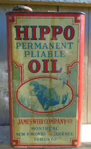 VINTAGE 1930-40's HIPPO OIL IMPERIAL GALLON CAN - NEW TORONTO