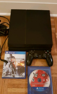 PS4 500gb (model 1215A) w controller and 2 games