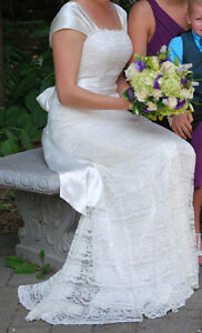 Ivory Satin and Lace Wedding Dress & Bolero Kitchener / Waterloo Kitchener Area image 9