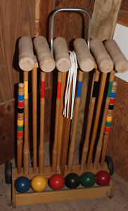 Vintage Brookstone Wooden Croquet Set + Wooden Cart with Wheels