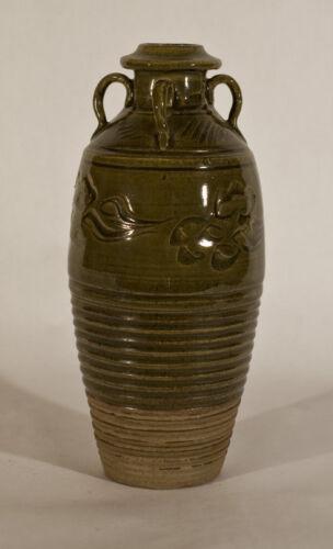 Chinese Song Style olive glazed Lug Handled Jar