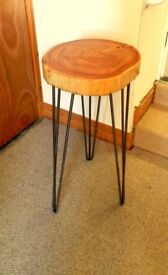 Hand made tree trunk bar stool scots pine with epoxy finish like glass and waterproof