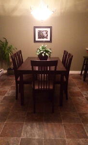 Solid Wood Dining Room Set w/ 6 Chairs