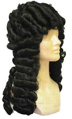 OLD ENGLISH JUDGE BARRISTER COLONIAL BLACK LACEY WIG COSTUME ACCESSORY LW260BK](Old English Costume)