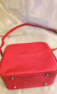 Vintage Retro Red Leather Carry On Luggage Suitcase