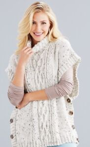 Buttoned Cabled Poncho