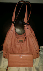 EUC Coach Madison Woven Leather Shoulder Bag 23385 & Wallet