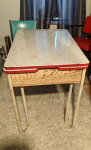 Vintage red and white kitchen table