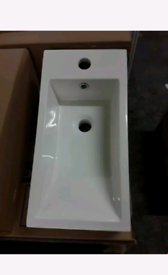 ALPINE POLY MARBLE 1TH BASIN WITH OVERFLOW