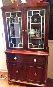 514: Vintage China Cabinet 1940s Solid Wood with Blue Lattice