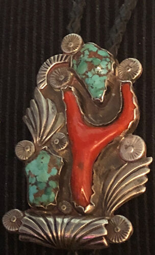 Important Early Zuni attr Dan Simplicio Large Bolo Leaves Naturl Coral Turquoise