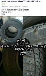 Set of 2 studded winter tires 195 70 R14