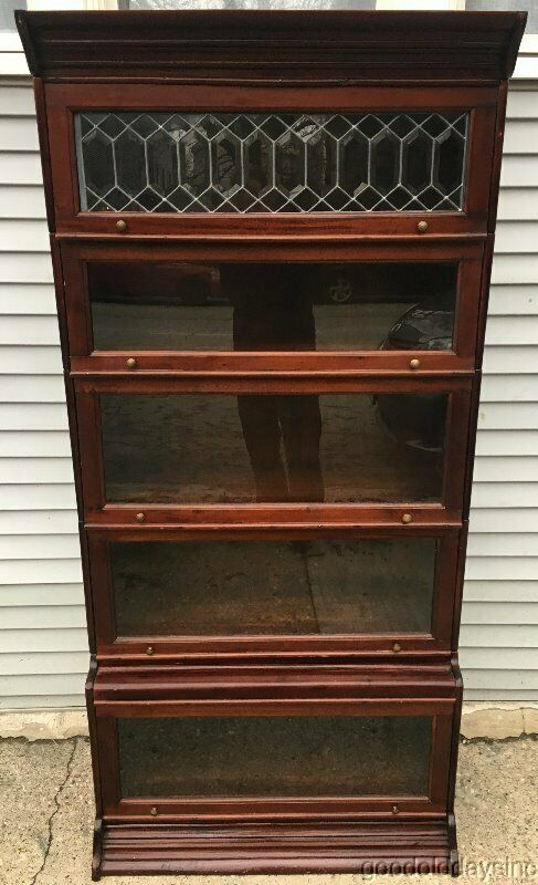 Antique Mahogany Stacking Bookcase w/ Beveled Leaded Glass Door
