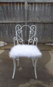 VINTAGE VICTORIAN WROUGHT IRON CHAIR - REDONE- HEAVY