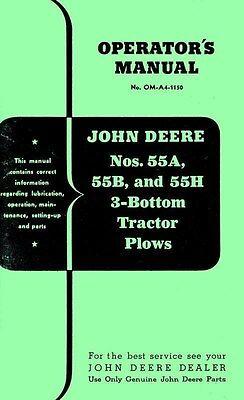 John Deere 55a 55b And 55h 55-a 55-b 55-h 3 Bottom Tractor Plow Operators Manual