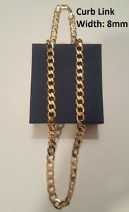 14K Gold Filled Curb Link 8mm Thick Chain – 24 inch