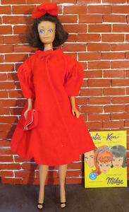 1963-1966 brunette s/l Midge doll, Red Flare outfit, pink ss top